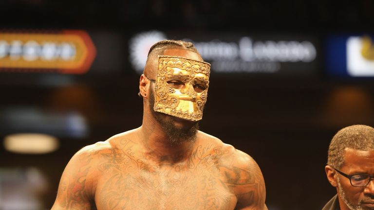 BIRMINGHAM, AL - FEBRUARY 25: WBC World Heavyweight Champion Deontay Wilder enters the ring for his fight against Gerald Washington at Legacy Arena at the