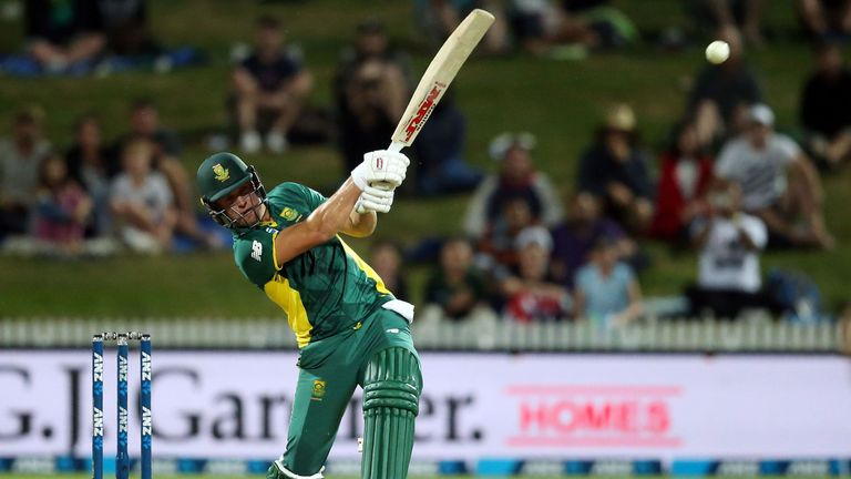 AB de Villiers of South Africa hits the winning runs during the one-day international (ODI) cricket match between New Zealand and South Africa at Seddon Pa