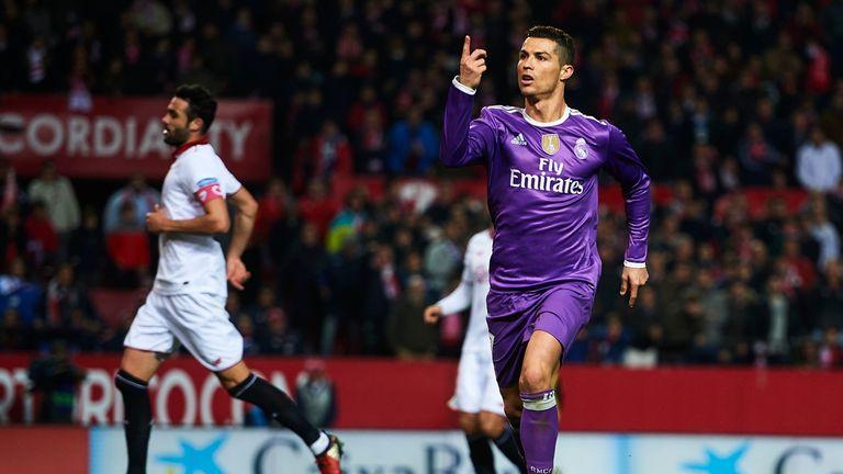 Cristiano Ronaldo of Real Madrid celebrates after scoring the first goal during the La Liga match v Sevilla, 15 January 2017
