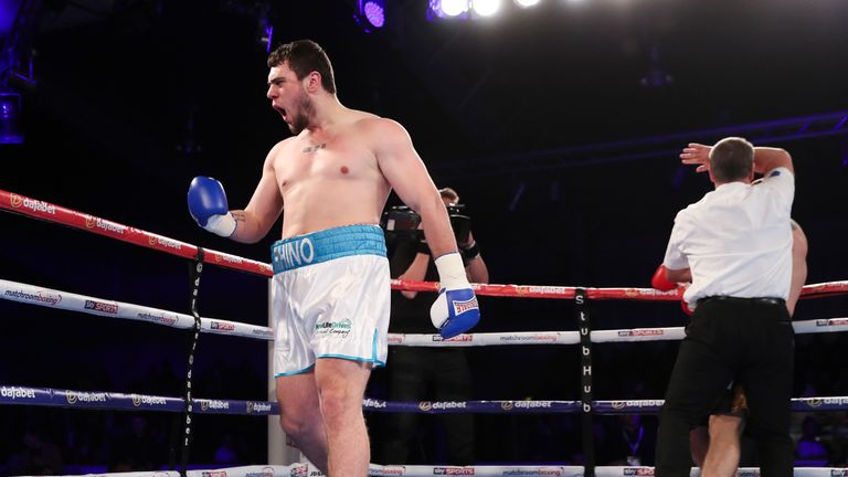 HULL, ENGLAND - FEBRUARY 25:  David Allen stops Lukasz Rusiewicz in the 1st round during their Heavyweight contest on February 25, 2017 in Hull, England. (