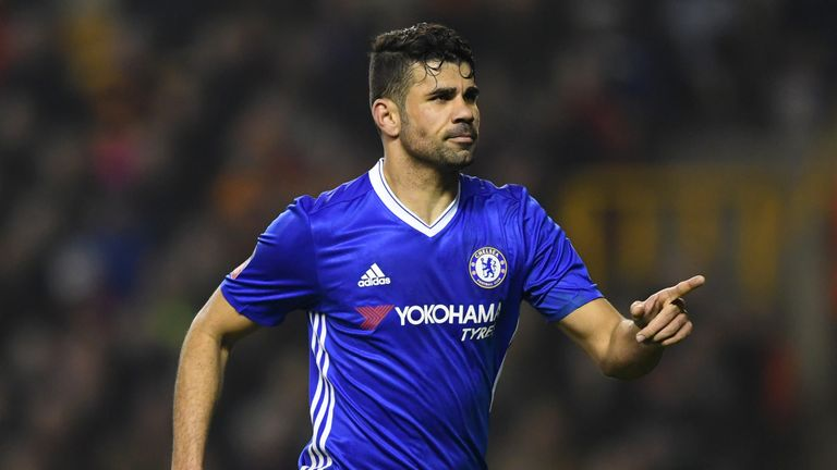 WOLVERHAMPTON, ENGLAND - FEBRUARY 18:  Diego Costa of Chelsea celebrates scoring his sides second goal during The Emirates FA Cup Fifth Round match between