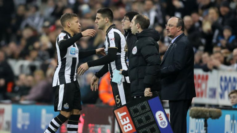 Injured Dwight Gayle was replaced by Aleksandar Mitrovic during the first half against Aston Villa