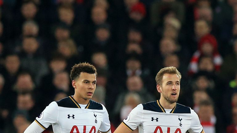 Tottenham Hotspur's Dele Alli and Tottenham Hotspur's Harry Kane appear dejected during the Premier League match at Anfield, Liverpool.