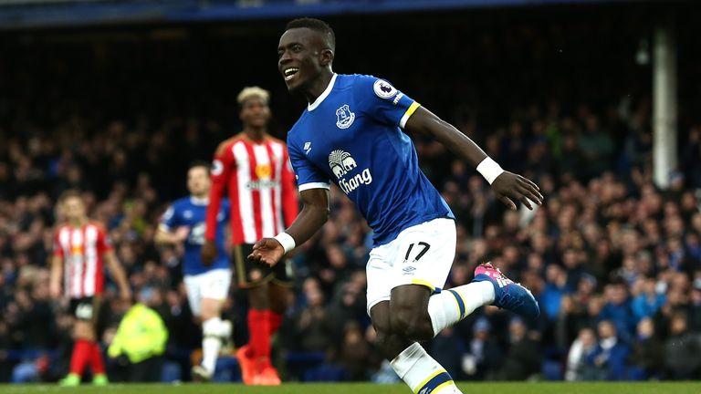 Idrissa Gueye celebrates scoring for Everton against Sunderland