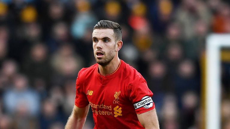 Jordan Henderson in action during the Premier League match against Hull City on February 4