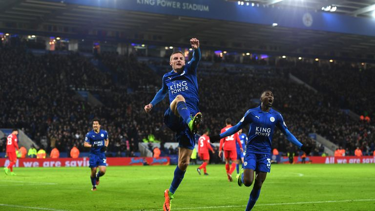 LEICESTER, ENGLAND - FEBRUARY 27:  Jamie Vardy of Leicester City celebrates after scoring his second and his sides third goal during the Premier League mat