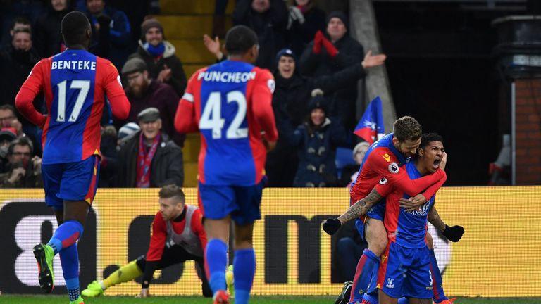 Crystal Palace defender Patrick van Aanholt (right) celebrates scoring a goal against Middlesbrough