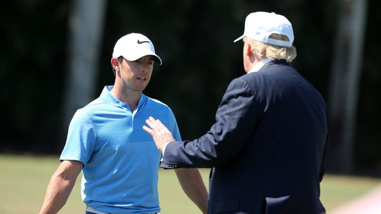 McIlroy speaks to Trump at the WGC event in Florida last year