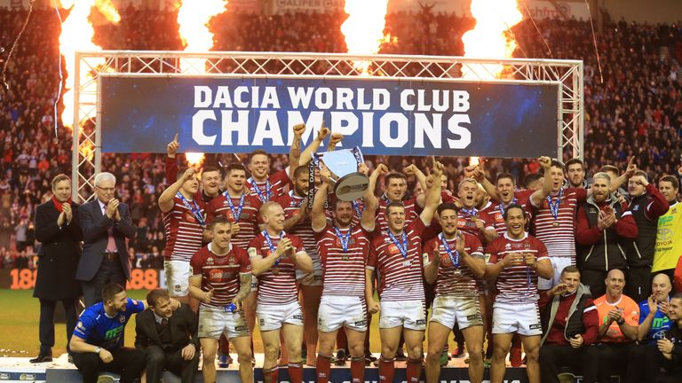 Wigan Warriors winners of the 2017 Dacia World Club Series during the 2017 Dacia World Club Series match at the DW Stadium, Wigan.