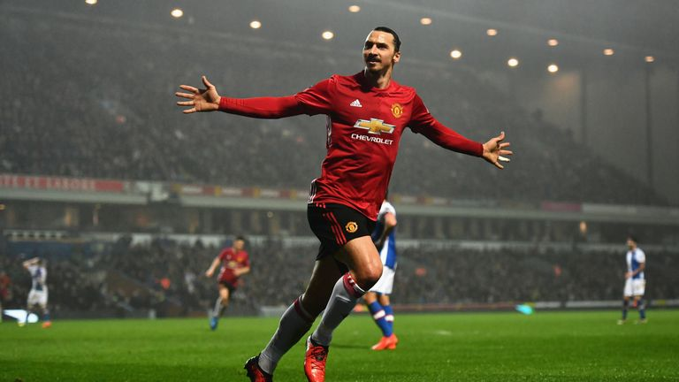 Zlatan Ibrahimovic celebrates his goal for Man United