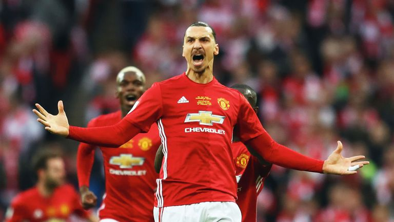 Zlatan Ibrahimovic celebrates after giving Manchester United a 1-0 lead