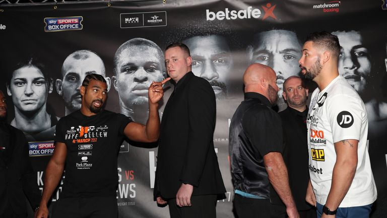 Haye and Bellew shared one last verbal exchange before leaving the stage