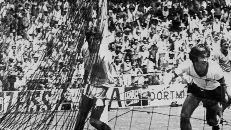 Gerd Muller celebrates his winner againstEngland at the 1970 World Cup