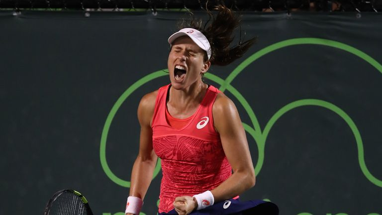 Johanna Konta celebrates after edging out Aliaksandra Sasnovich of Belarus in Miami