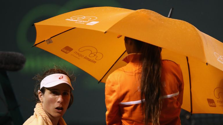 Rain in Miami disrupted Konta's second-round tie at Crandon Park Tennis Centre
