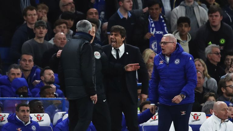 A fiery first-half saw Antonio Conte confront Jose Mourinho