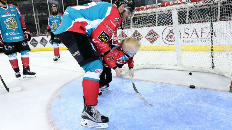 Belfast Giants captain Adam Keefe gets an assist on Blake McCaughey's first goal for the team (Pic courtesy Belfast Giants)