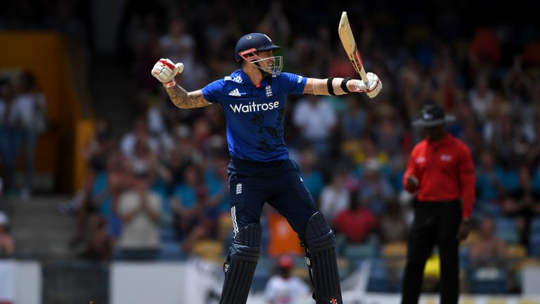 Alex Hales celebrates his century during the third ODI against the West Indies