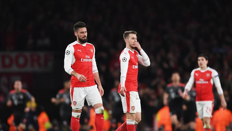 Arsenal were knocked out of the Champions League after a 10-2 aggregate defeat to Bayern Munich