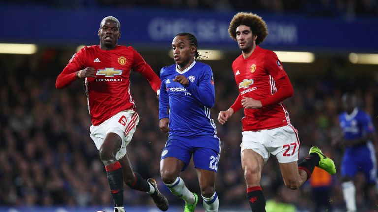 Pogba chases after Willian at Stamford Bridge