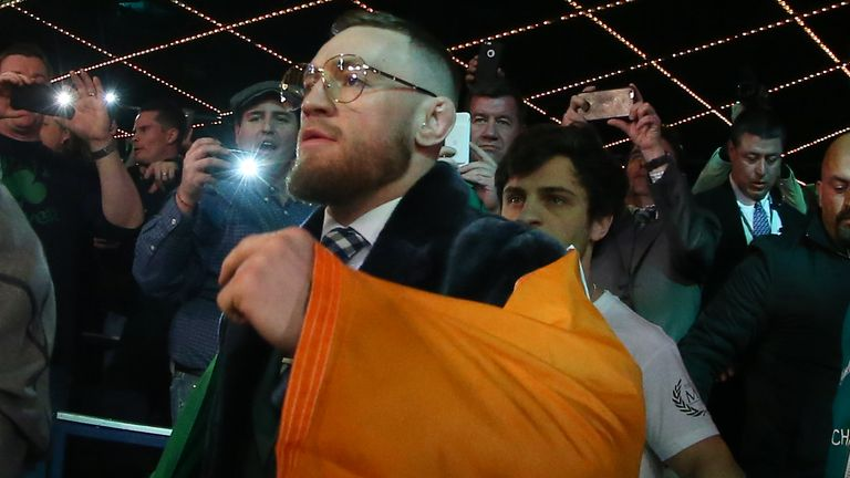 McGregor walks to the ring for the super bantamweight bout between Conlan and Tim Ibarra at the Theater in New York