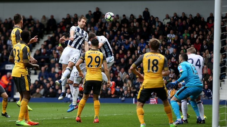 Craig Dawson heads home West Brom's third goal against Arsenal
