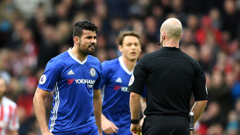 Diego Costa avoided a second yellow card in Chelsea's win over Stoke on Saturday