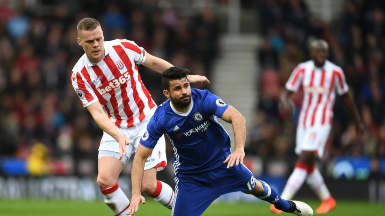 Costa (right) was targeted by Stoke's defenders, according to Antonio Conte