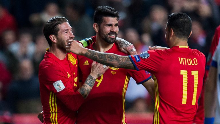 Diego Costa (centre) celebrates scoring in the 4-1 win over Israel