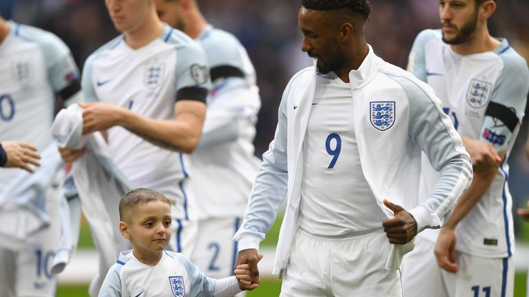 Bradley Lowery walks out at Wembley alongside his favourite Sunderland player, Jermain Defoe