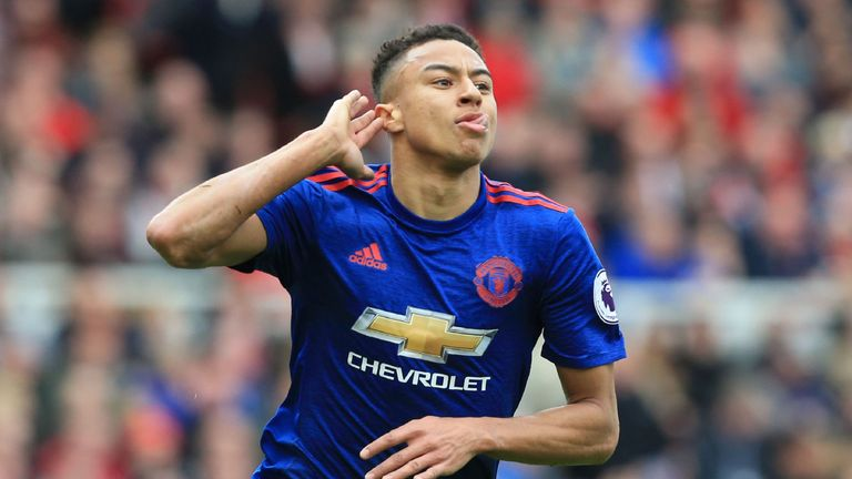 Jesse Lingard celebrates his goal for Manchester United at Middlesbrough