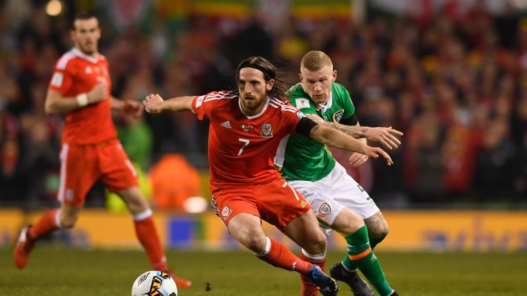 Wales' Joe Allen battles for possession with James McClean