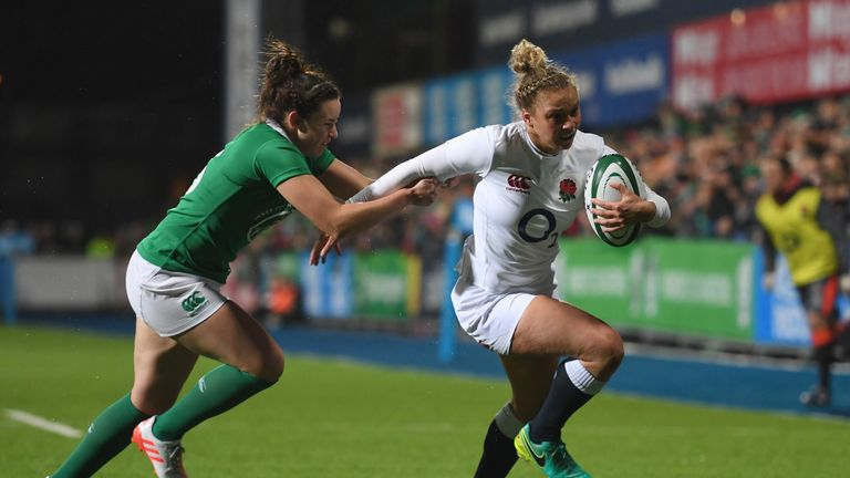 England's Kay Wilson is tackled by Kim Flood of Ireland on Friday