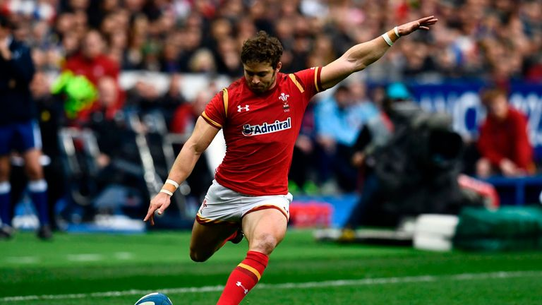 Leigh Halfpenny kicks a penalty against France
