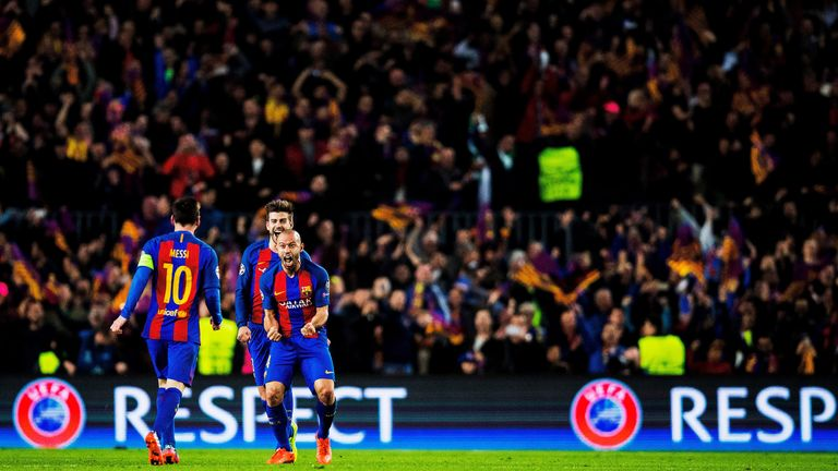 Lionel Messi, Javier Mascherano and Gerard Pique celebrate their 6-1  defeat of Paris Saint Germain