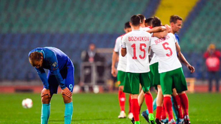 Netherlands forward Bas Dost reacts after a World Cup qualifying defeat to Bulgaria