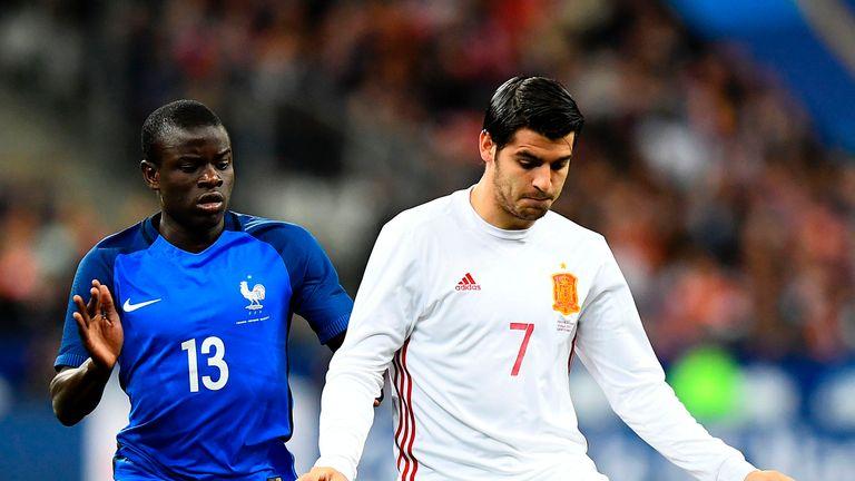 France's N'Golo Kante (left) vies with Spain's Alvaro Morata