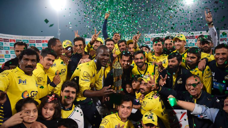 Peshawar Zalmi celebrate their victory over Quetta Gladiators in the final the PSL in Lahore