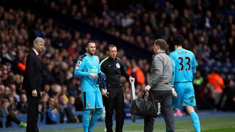 Petr Cech was forced off with injury in the first half