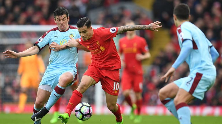 Philippe Coutinho was taken off after an hour against Burnley