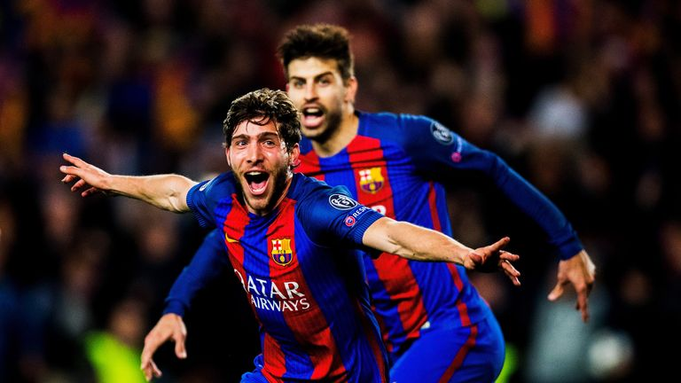 Sergi Roberto celebrates his tie-winning goal with team-mate Gerard Pique