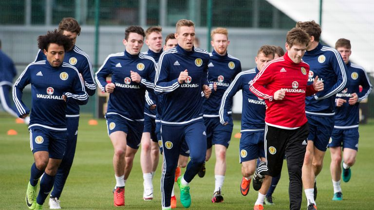 The Scotland squad including Darren Fletcher (C) train ahead of their match against Canada