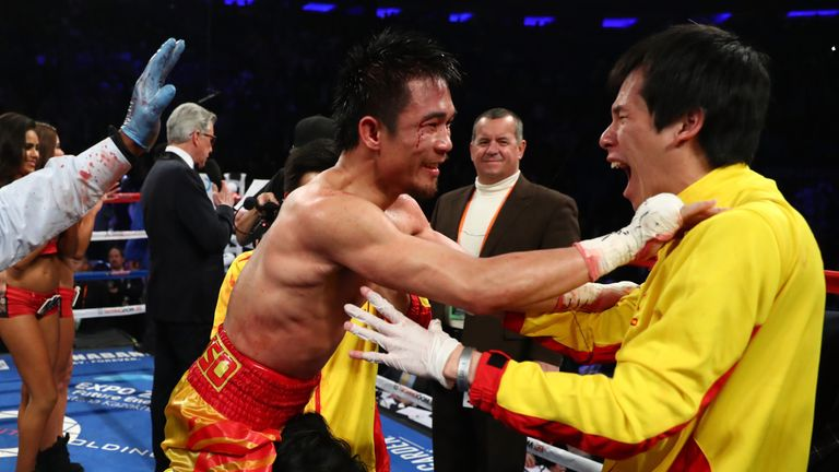 Srisaket Sor Rungvisai celebrates his upset win over Roman Gonzalez