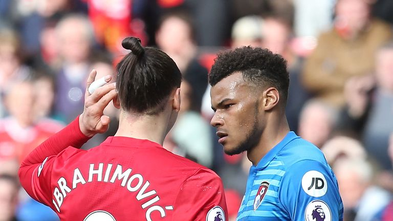 Zlatan Ibrahimovic (left) is currently serving a three-match domestic ban after an incident in the Premier League with Bournemouth defender Tyrone Mings
