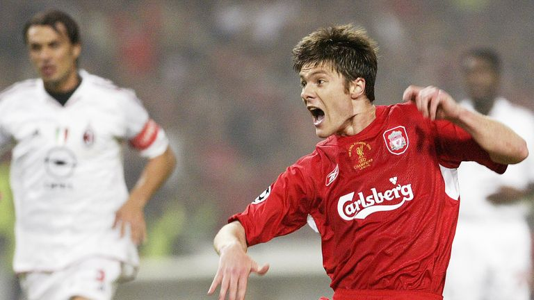 Xabi Alonso scored for Liverpool during the Champions League final in Istanbul