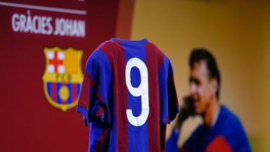 The No 9 shirt of the late Johan Cruyff is displayed during a ceremony for the first anniversary of his death