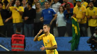 Philippe Coutinho celebrates after scoring against Paraguay