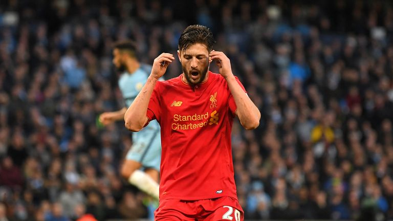 MANCHESTER, ENGLAND - MARCH 19:  Adam Lallana of Liverpool reacts after missing a chance to score during the Premier League match between Manchester City a