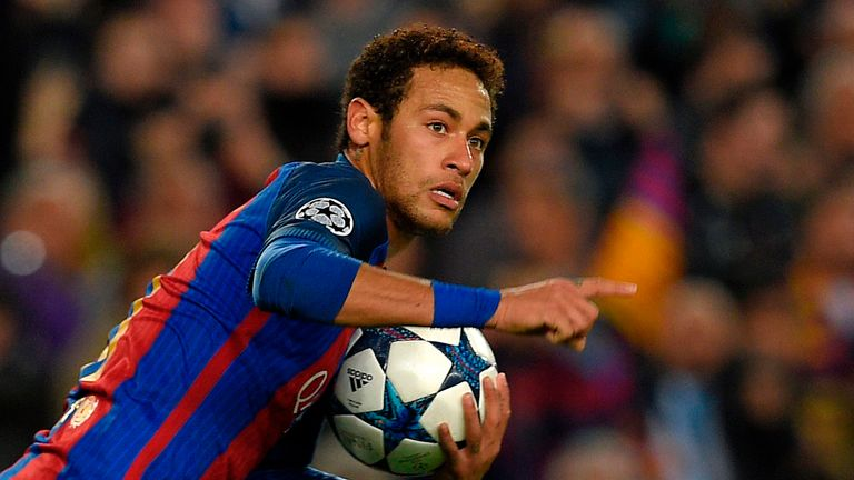 Neymar turns away from goal after netting for Barcelona in their Champions League round of 16, second leg match