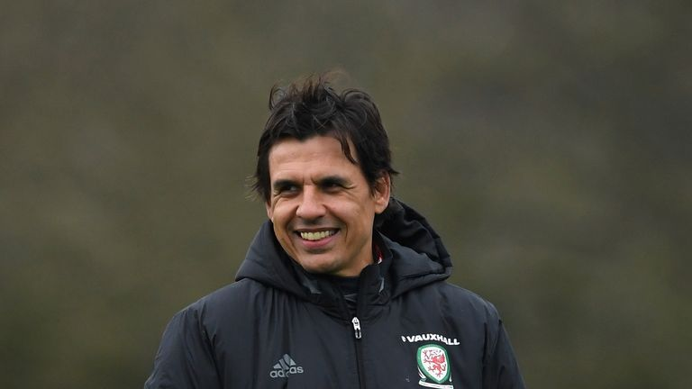 Wales manager Chris Coleman at a training session ahead of their World Cup Qualifier against the Republic of Ireland